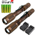 2x5000 Lumen Tactical Rechargeable T6 LED Flashlight Torch+18650 Battery+Charger
