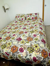 Queen Full Floral Orange Yellow Red Green Light Quilted Coverlet 2 Shams 91 x 86