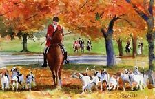 Foxhunt Thoroughbred Fall Art Large Giclée Canvas Equine Painting Hunt Horse