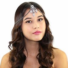 Black Crystal Tikka Chain Headpiece Headband Bridal Prom Accessories