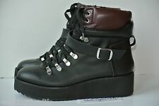 NEW Steve Madden 8.5 M Black Leather Platform Wedge Hiking Ankle Boots $149.95