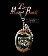 "MASKED BANDIT RACCOON NECKLACE - WESTERN WILDLIFE ART JEWELRY 24"" CHAIN  #BR *"