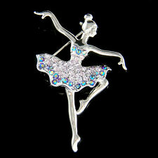 w Swarovski Crystal Purple BALLERINA Figure BALLET DANCER Pin Brooch Jewelry New