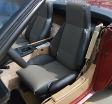 CHEVY CORVETTE C4 TYPE3 1984-1993 BLACK/CHARCOAL S.LEATHER CUSTOM SEAT COVERS TG