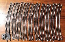 "ATLAS HO SCALE 18"" RADIUS CURVE SNAP TRACK w/TERMINAL TRACK, BRASS, 10 SECTIONS"