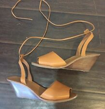 Gap Cognac Leather Tie Up Lace Up Ankle Wedges Sandals Tan Made Well 9