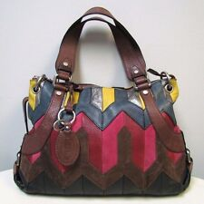 Fossil Long Live Vintage Leather Suede Patchwork Multi Tote Crossbody Bag