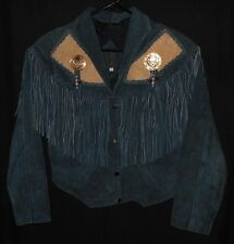 Vtg Women's Western Fringe Jacket Suede Leather Fancy Stitch Conchos Rodeo Small