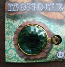 Victorian Gold Monocle Eye Piece Green Lens Spectacle Steampunk Cosplay NEW