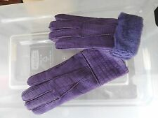 purple ladies women 100% genuine real leather sheepskin gloves mittens