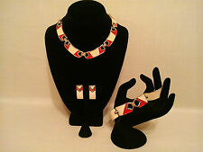 Vintage Monet Red Cream Enamel w 14K Gold-Tone Trim Necklace Bracelet Earrings