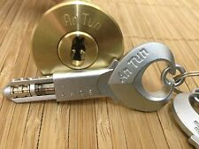 "An Tun- Unique 13-pin Deadbolt Lock.  With 3 awesome ""Spool Bead"" Keys! (Brass)"