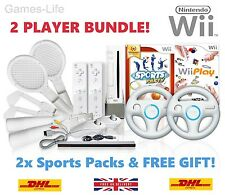 Wii Nintendo Console 2 PLAYER Bundle PLUS Sports Packs Wheels Remotes 18 GAMES