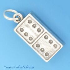 DOMINO GAME PIECE DOUBLE 6's .925 Sterling Silver Charm