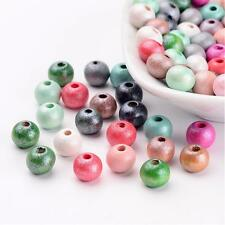 100pcs Round Wood Beads Dyed 8mm Lead Free Mixed Color Space Bead Jewelry Making