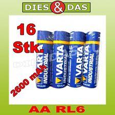 16 Pcs Varta AA Mignon LR6 4006 Industrial Pilas en 4 Lámina 16x