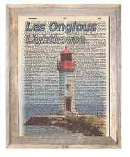 Les Onglous Lighthouse France Altered Art Print Upcycled Vintage Dictionary Page