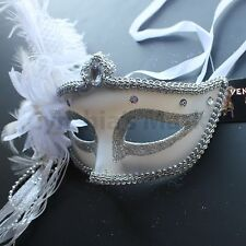 White Star Venetian Ostrich Feather Mask for wedding dancing  party Masquerade