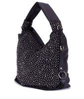 Trendy Glitzer XL Tasche Handtasche Shopper mit Strass Nieten in Schwarz