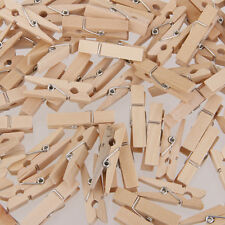 100pcs Natural Mini Wooden Pegs Clothes Pins Clip Embellishment Craft 25*3mm