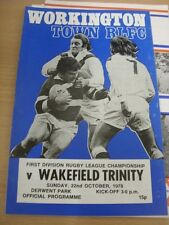22/10/1978 Rugby League Programme: Workington Town v Wakefield Trinity (team cha