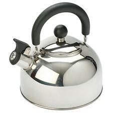 Polly 2ltr STAINLESS STEEL WHISTLING KETTLE camping home caravan gas camp hob
