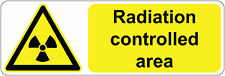 300 x 100 mm  Radiation Controlled Area health& safety signs/stickers