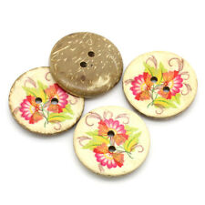 Pack of 5 Pink Flower Design Coconut Shell Sewing Craft Buttons 30mm Free UK P&P