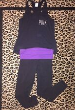 VICTORIAS SECRET Love PINK Black Tank Top & Yoga Pant Foldover Set Purple M