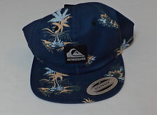 NWT Quiksilver Blue W/ Palm Trees Flat Bill Baseball Cap    One Size    L649
