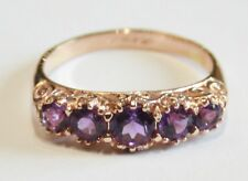 "9ct Rose Gold 5-Stone Amethyst Victorian Style Ring Size N  British Made ""NEW"""