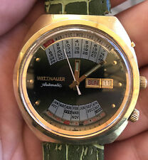 "WITTNAUER ""2002-1"" Perpetual Calendar Automatic Men's W102 17J Watch green"