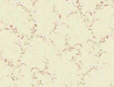 Wallpaper Flower Floral Vine Trail Pink Peach Green on Light Beige Background