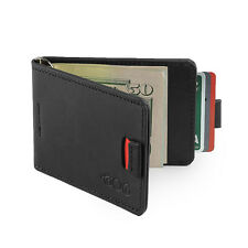 Agog Mens Ultra Slim Bifold Leather Wallet Pull Tab with Money Clip - Black