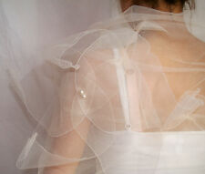 DESIGNER Braut STOLA Ringstola BLÜTEN mit Perlen Tüll IVORY/CREME ZART&EDEL