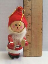 Santa Elf holding Cymbals Vintage  Wood Christmas Ornament
