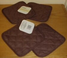 (Set of 4) ~   BROWN  Pot Holders   7 X 7  Free Shipping