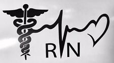 "5"" RN Registered Nurse Vinyl decal Sticker COLORS Heart Medic Car Window Bumper"