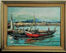 Mid Century Signed Oil Painting on Canvas Boats in Harbor 12 x 16 Italy?