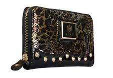 New LYDC Womens Ladies Designer Studded Patent Black Purse Clutch Wallet P90