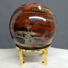 "4.13"" Amazing Red Cream Araucaria Petrified Wood Fossil Sphere Globe Ball, Ptw55"