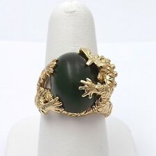 14k Gold Green Aventurine Chinese Dragons Unisex Ring Sz 8.75