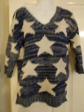 River island jumper..knitted...blue cream..star..size 10 bnwot