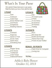 24 Personalized WHAT'S IN YOUR PURSE Baby Shower Game