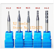 5PC Of 1mm 2mm 2.5mm 3mm 4mm MIcro Grain Carbide End mill Cutter CNC Milling