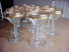 Set 9 Vintage Cocktail Sparkling Wine Drinking Glass Gold Encrusted Stemware