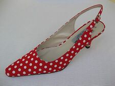 Jade Womens Shoes NEW $49 Platinum Red White Dots Slingback 7.5 M