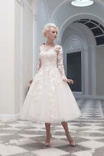 New Long sleeve Vintage Tea length White Ivory Lace Wedding Dresses size 2-18+++