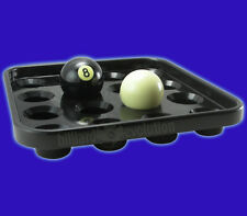 Pool Ball Tray - Black Plastic - Holds Set of 15 Pool Balls and Cue Ball