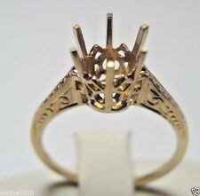Antique Vintage Engagement Setting Hold 7-8.5MM 14K Yellow Gold Ring Size 5.5